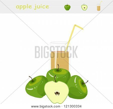 Banner Apple juice. A glass of juice, yellow straw, green apple, cut apple on white background, vect
