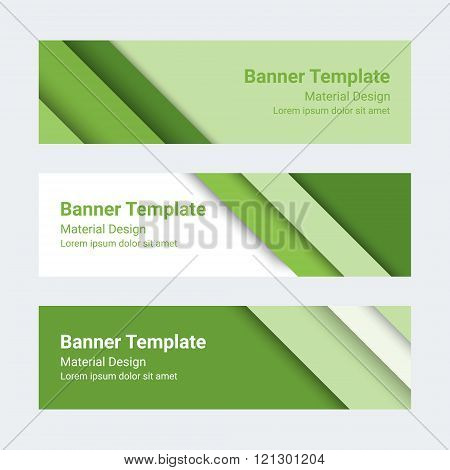 Material Design Banners. Set Of Modern Colorful Horizontal Vector Banners, Page Headers. Can Be Used