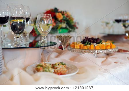 Beautiful decoration of the festive table setting.