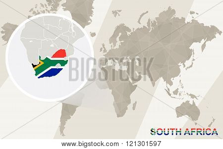 Zoom On South Africa Map And Flag. World Map.