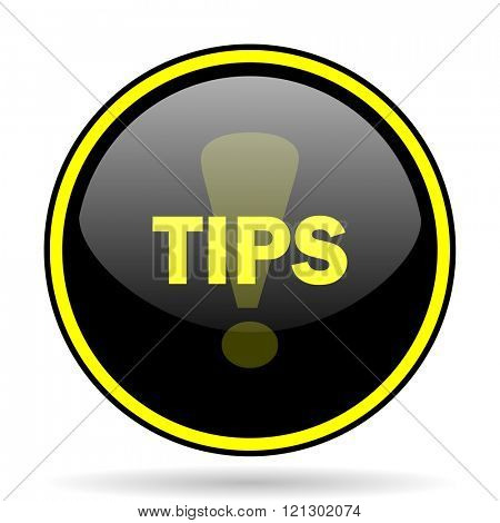 tips black and yellow modern glossy web icon