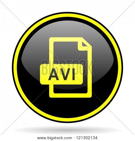 avi file black and yellow modern glossy web icon