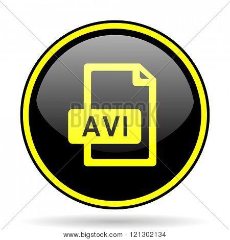 avi file black and yellow modern glossy web icon