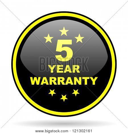 warranty guarantee 5 year black and yellow modern glossy web icon