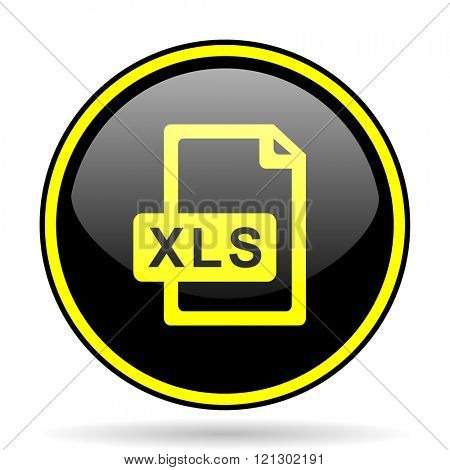 xls file black and yellow modern glossy web icon