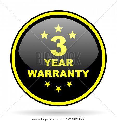 warranty guarantee 3 year black and yellow modern glossy web icon