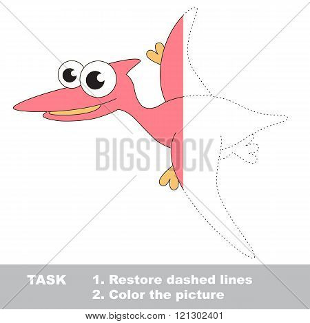 Pterodactyl in vector colorful to be traced. Restore dashed line and color the picture. Visual game for children. Worksheet to be colored.