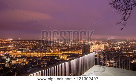 Panorama view from montagne de beuren in Liege. City trip belgium in europe.