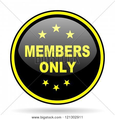 members only black and yellow modern glossy web icon