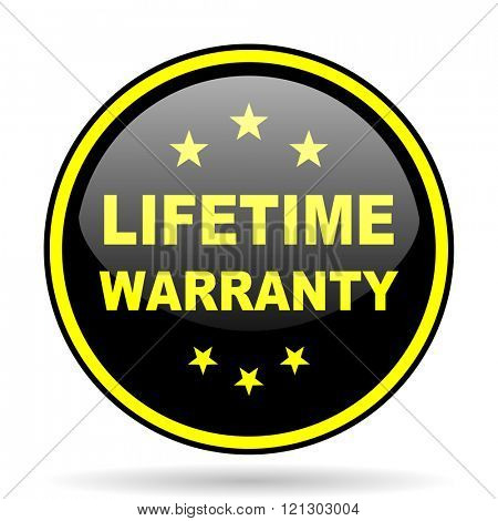 lifetime warranty black and yellow modern glossy web icon