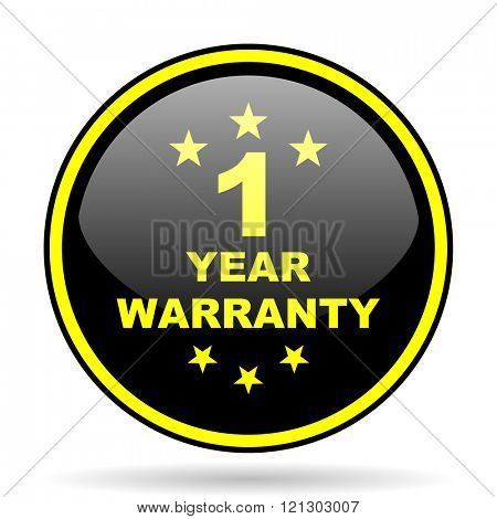 warranty guarantee 1 year black and yellow modern glossy web icon