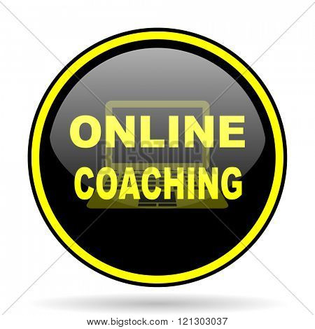 online coaching black and yellow modern glossy web icon