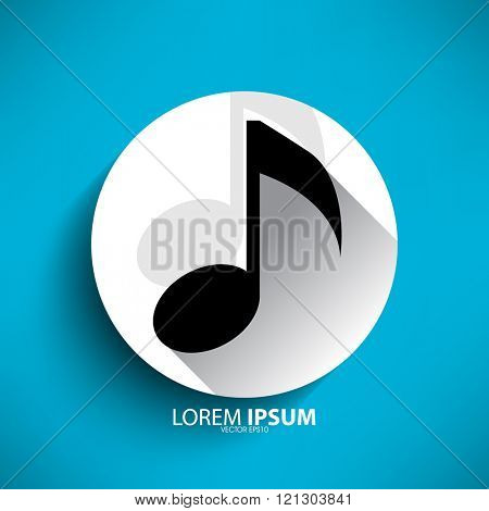 music note icon inside round white frame, flat vector drawing