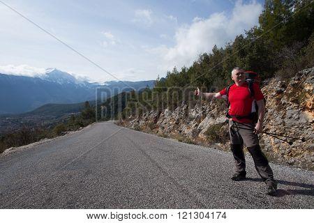 Hitchhiking.