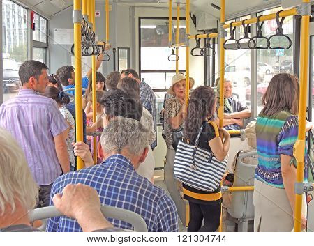 Passengers In The City Bus