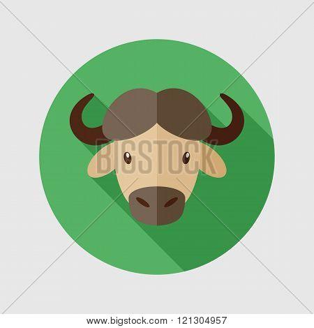 Buffalo Bison Ox Flat Icon. Animal Head Vector