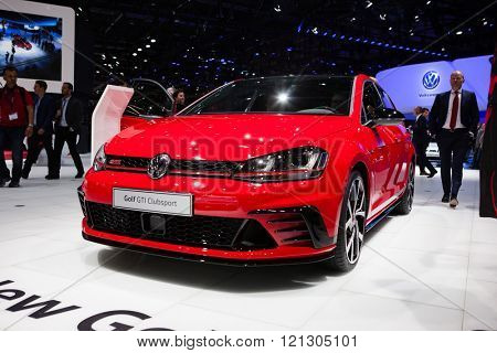 GENEVA, SWITZERLAND - MARCH 1: Geneva Motor Show on March 1, 2016 in Geneva, Volkswagen Golf GTI Clubsport, side-front view