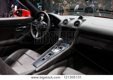 GENEVA, SWITZERLAND - MARCH 1: Geneva Motor Show on March 1, 2016 in Geneva, Porsche 718 Boxster, interior view