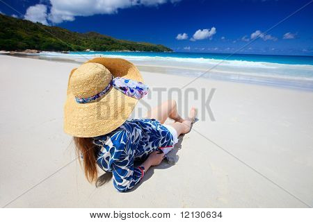 Young Woman Relaxing At Beach