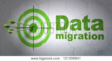 Information concept: target and Data Migration on wall background