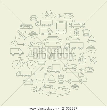 Background made of icons related to transportation, cars and various vehicles.