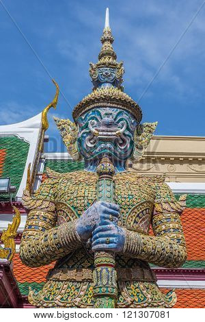 Demon Guardian Wat Phra Kaew Grand Palace (temple Of The Emerald Buddha)