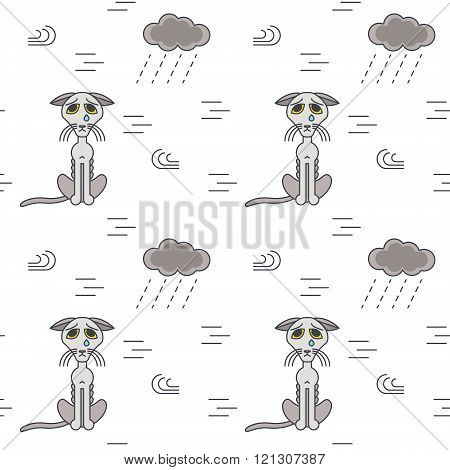 Poor homeless cats outside in bad weather seamless pattern.