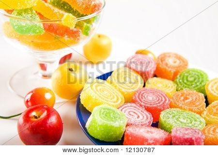 Sweets and fruits on table