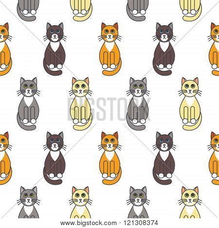Bicolor cats seamless pattern.