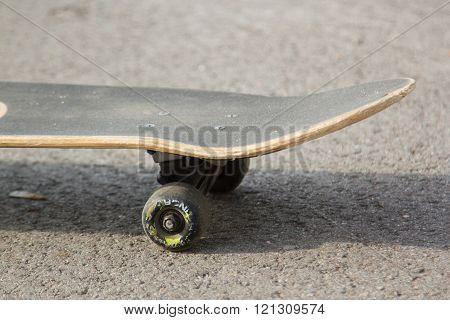 skateboard on the pavement