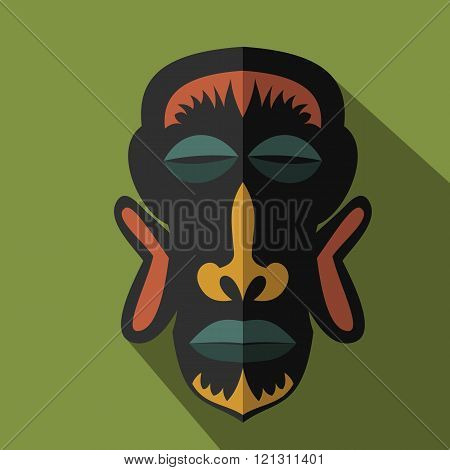 Set of African Ethnic Tribal masks on colour background. Flat icons. Ritual symbols.