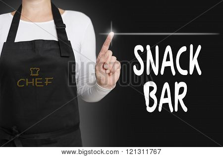 snack bar touchscreen is operated by chef
