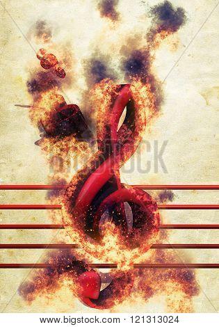 Violin Keys On Fire