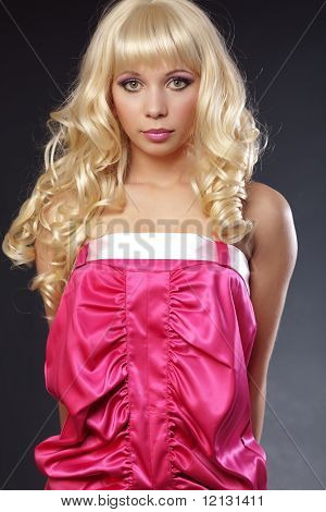 Beautiful girl styled as barbie doll