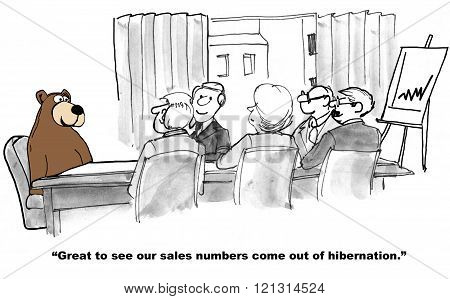 Business cartoon about a turnaround in sales results.
