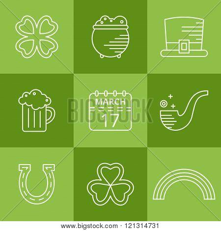St. Patricks day linear icons set.