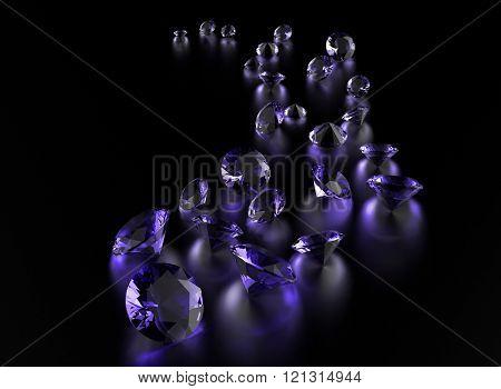 Gemstone on black . Jewelry background