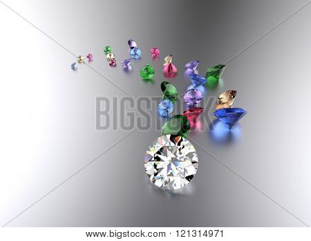 Differet color Gemstone on white . Jewelry background
