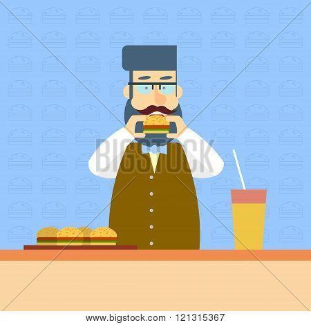Business Man On Break Eat Fast Food Sandwich Lunch