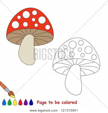 Toadstool to be colored. Coloring book for children. Visual game.