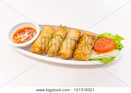 Fried Chinese Traditional Spring Rolls Food Isolated On White Background