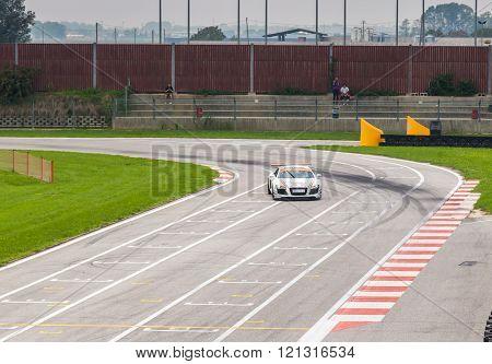 UDINE, Italy - OCTOBER 10, 2012: Audi R8 Safety car M&R Team ,  exhibition in drift and fast lap  in Autodromo Internazionale di Precenicco Lignano UDINE.
