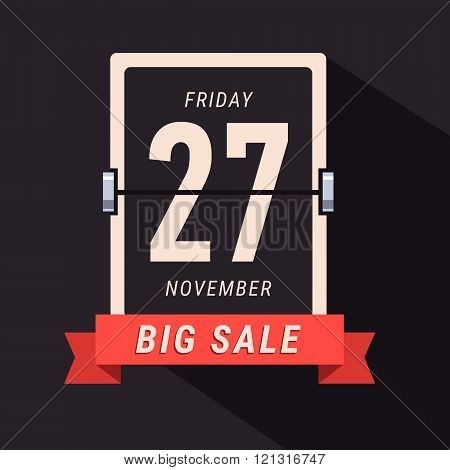 Black Friday Sale banner, flipping calendar page
