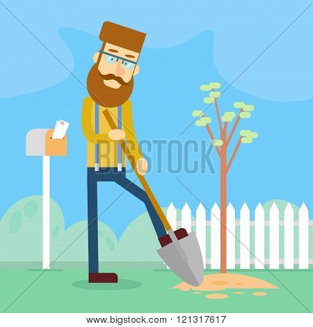 Casual Man Hold Spade Plant Tree Garden Work
