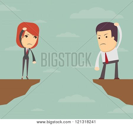 Business woman and man in front of a gap