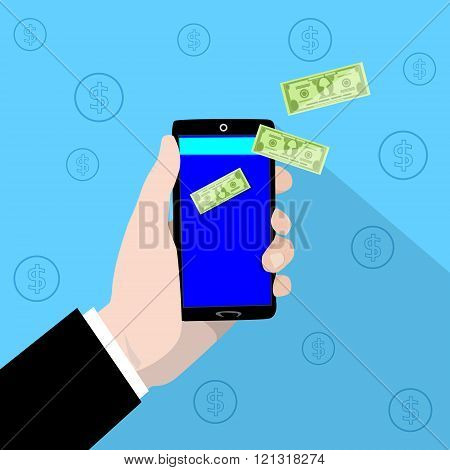 Smart Phone Mobile Payment Checkout Businessman Hand Pay Concept Green Dollar