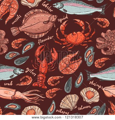 Pattern with seafood hand drawn color elements on dark background with lobster, octopus, squid, salmon, flounder, crab, mussels, oysters and shrimps
