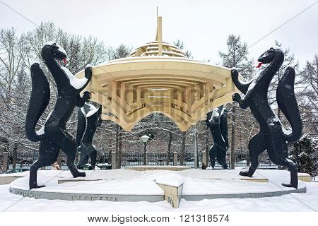 Novosibirsk, Siberia, Russia - March 01, 2016: Monument Of Sable, The Symbol Of City Novosibirsk. No