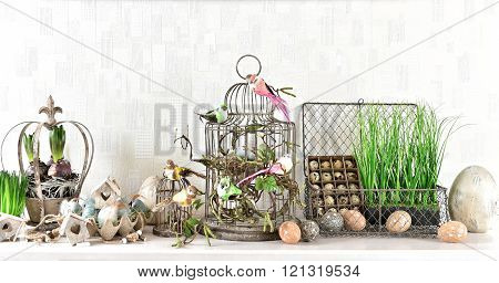 Easter Decoration With Eggs, Birds And Birdcage