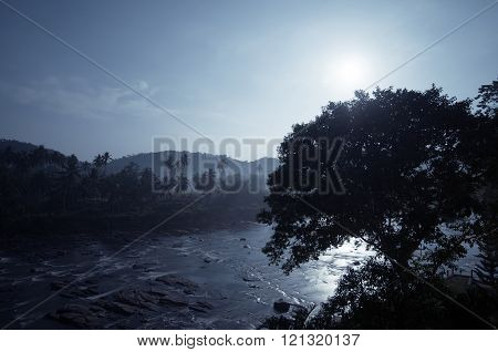 Flashy river in the night. Sri Lanka